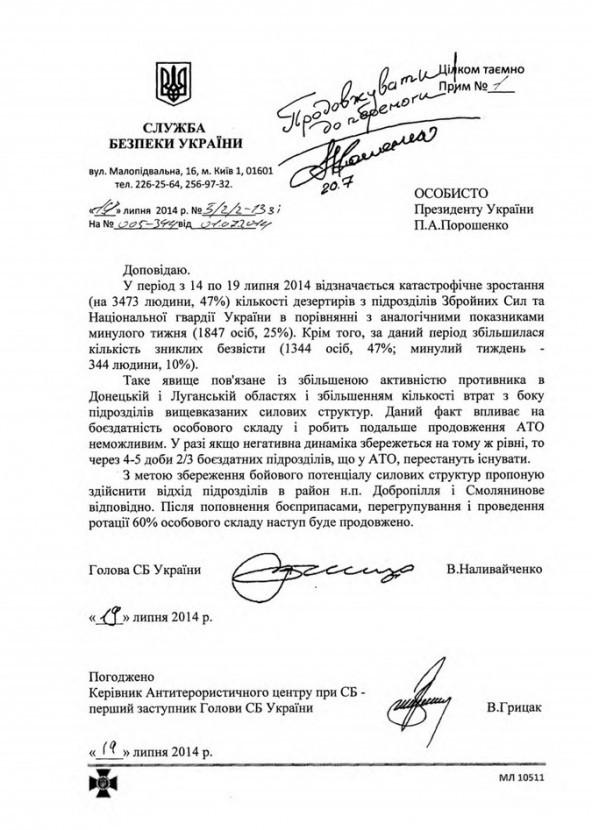 В Сети появилось письмо от Наливайченко к Порошенко о массовом дезертирстве в армии Украины