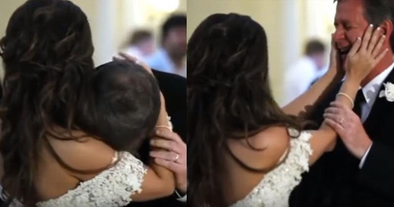 Папа с дочкой танцевал на свадьбе. Голос, который отец услышал посреди песни, заставил его расплакаться!