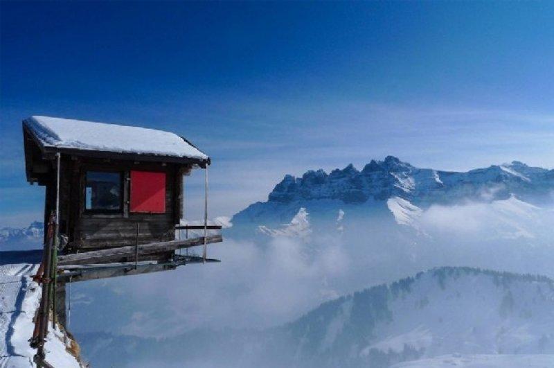 Швейцария дом, интересное, красиво, обрыв, строения