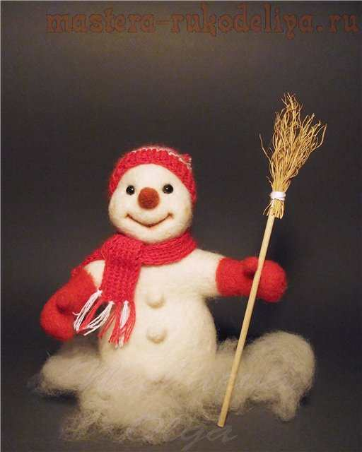 Мастер-класс по сухому валянию: Снеговик