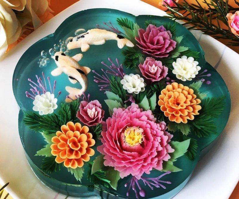 Художник-кондитер создает 3D-торты из желе, цветущие на тарелке