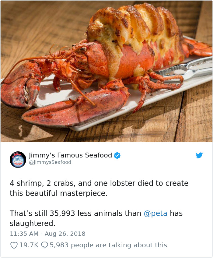 PETA Puts Vegan Billboard In Crab-Loving Baltimore, And Jimmy's Seafood Response Is Taking Twitter By Storm