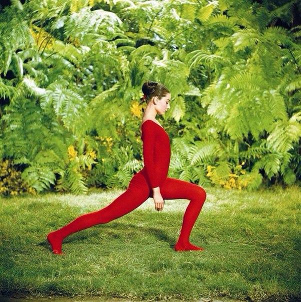 """Одри Хепберн занимается йогой в перерывах между съемками фильма М.Феррера """"Зеленые особняки"""" 1958 год."""