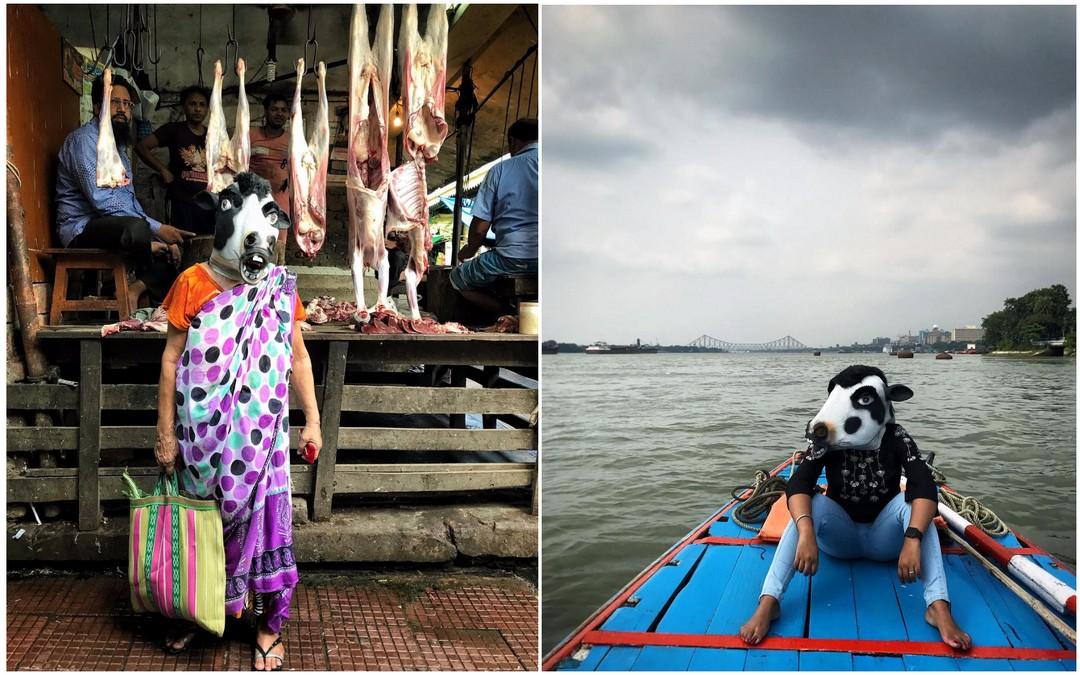 В знак протеста против изнасилований индийские женщины фотографируются в масках коров