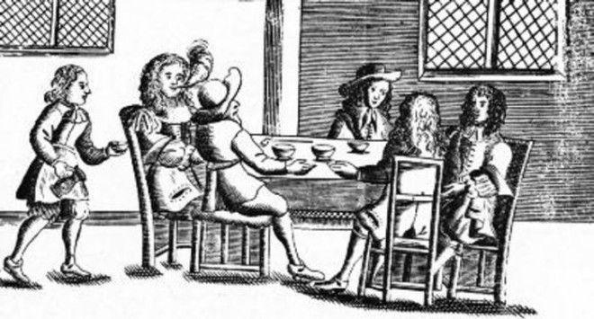 Английская кофейня. Гравюра XVII века.