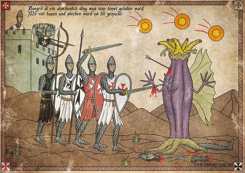 Монстры Мифов Ктулху в Средневековье на картинах австрийского художника Роберта Альтбауэра