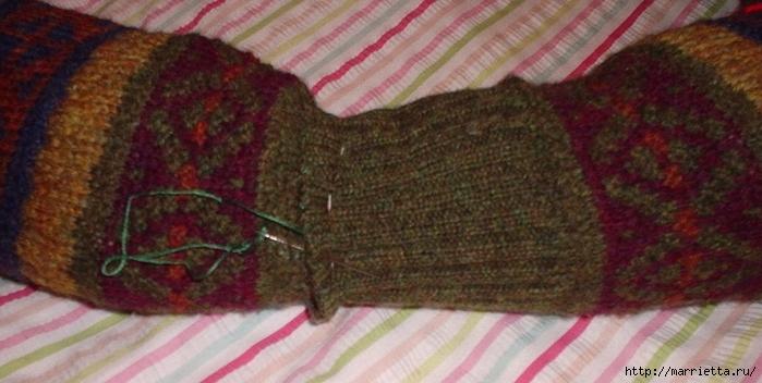 Cuna de gato de un viejo suéter.  Clase magistral (5) (700x352, 198Kb)