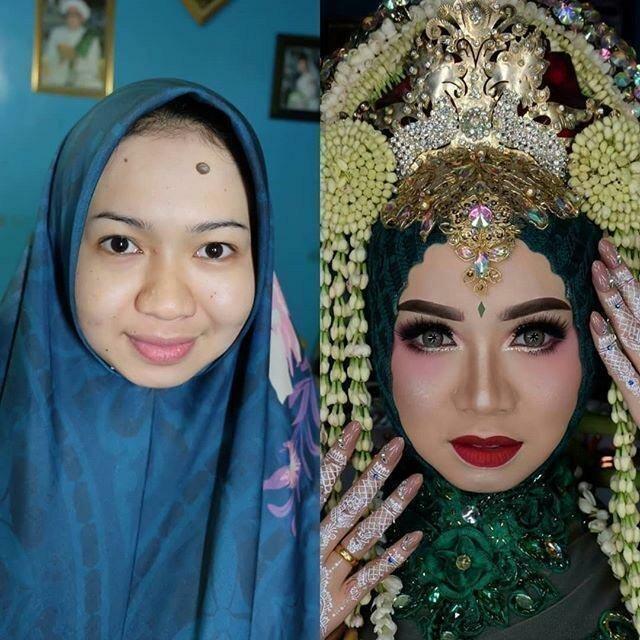 Совершенно разные люди: 21 фото о том, как макияж меняет азиатских невест
