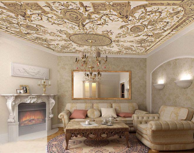 декор потолка в гостиной