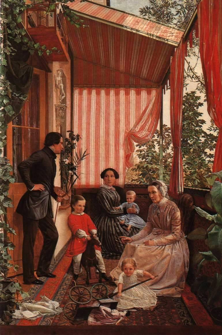 Федор Михайлович Славянский. 1819 или 1817—1876      Семейная картина (На балконе)  1851
