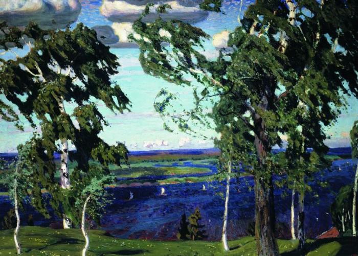 Радостный зеленый шум и вольные  просторы — такие родные пейзажи Аркадия  Рылова