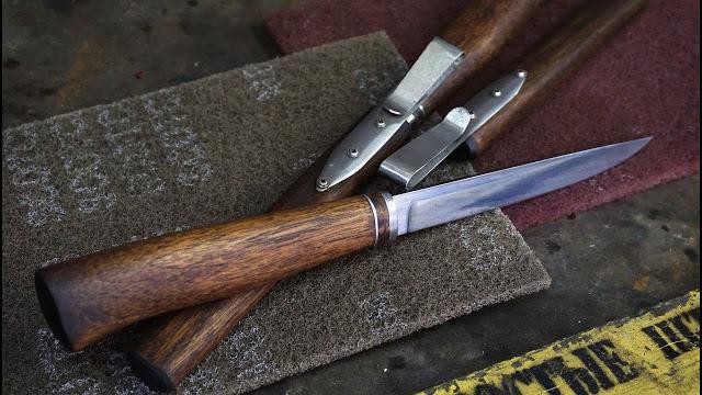 Рыбацкий нож охотника из палок клея и железяк.