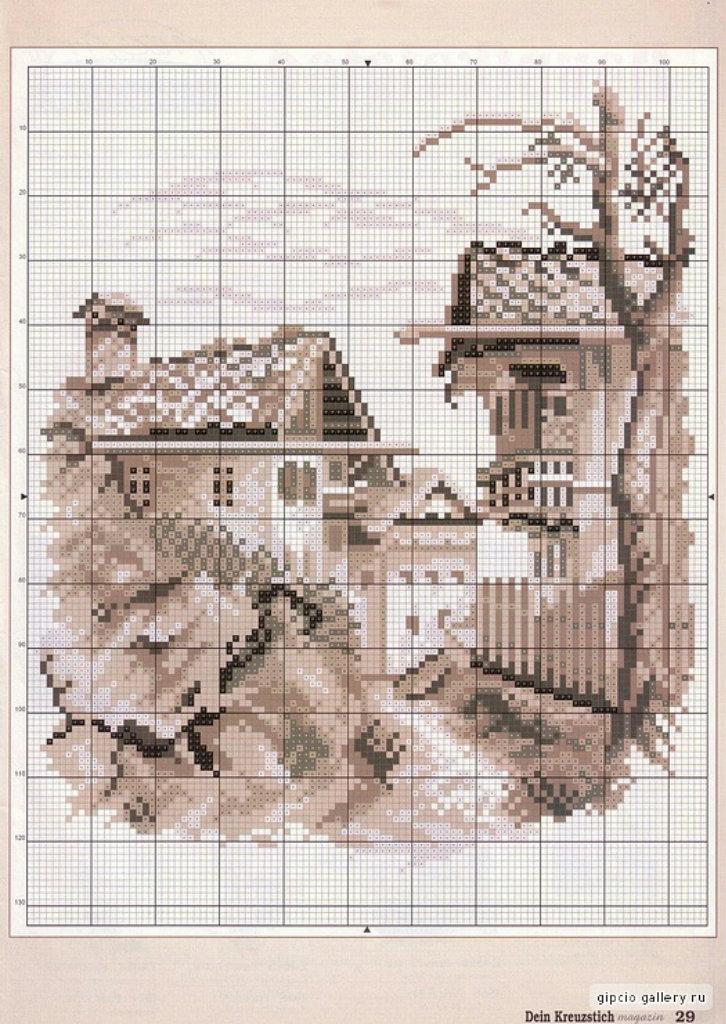Схема вышивок городской пейзаж