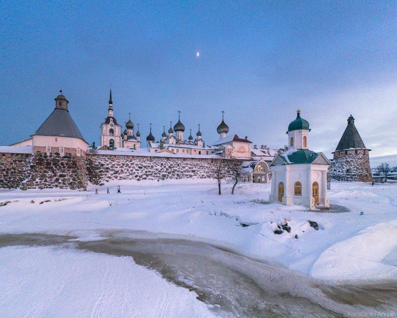 Часовня Александра Невского под луной. красота, природа, с высоты птичьего полета, соловки