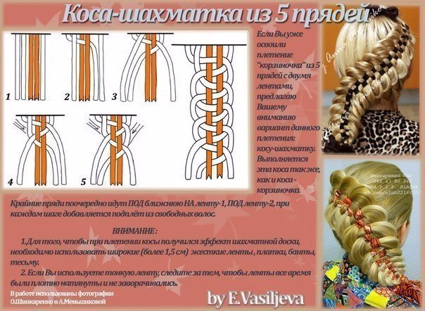 Плетение косы с лентами видео урок