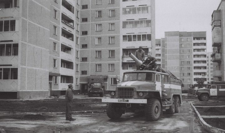 A panorama of central pripyat, which is part of the exclusion zone from the chernobyl meltdown