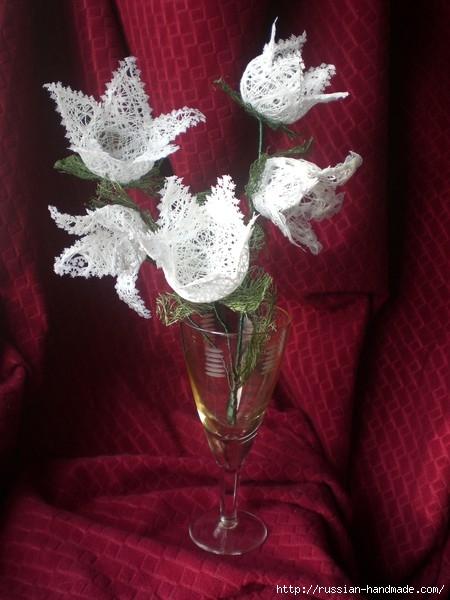 Нежные цветы, снеговик и декоративные шары из ниток. Мастер-классы (27) (450x600, 151Kb)