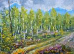 Осенняя живопись мастихином: Начало осени в лесу . Лесной осенний пейзаж маслом. Картины мастихином.