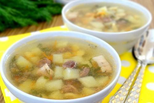 Суп с куриными сердечками и …