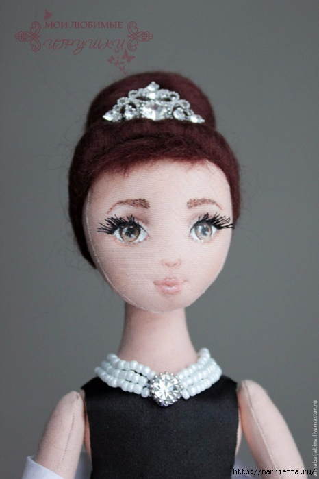 Утяжка лица текстильной куклы подробно