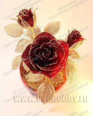 роза из бисера своими руками мастер-класс