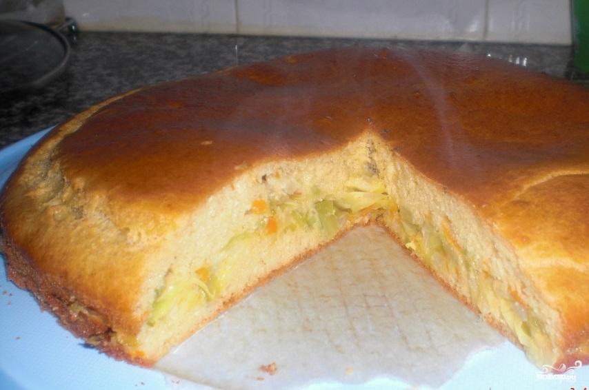Пирог с капустой рецепт с фото пошагово в духовке на сметане