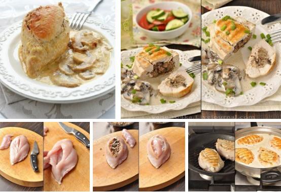 Куриные грудки фаршированные гречкой и шампиньонами, тушенные в сливочно-грибном соусе.