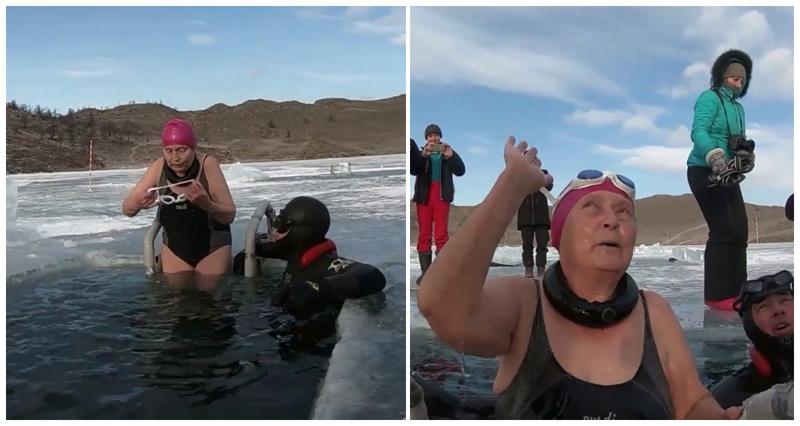 77-летняя бабулька из Сибири проплыла подо льдом Байкала