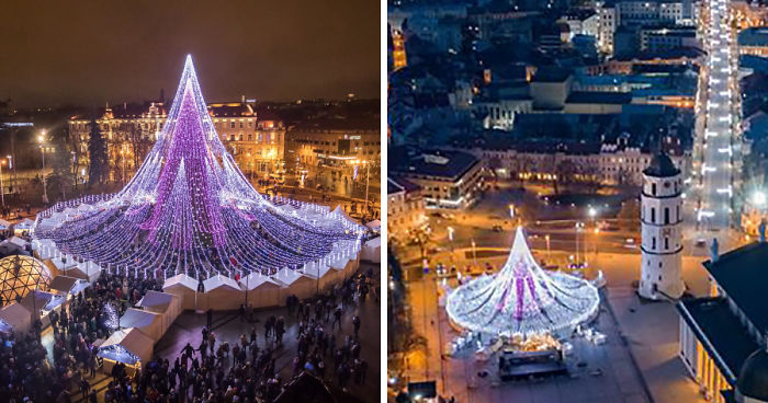 Spectacular Christmas Tree In Vilnius Features 70,000 Lightbulbs And 2700 Toys
