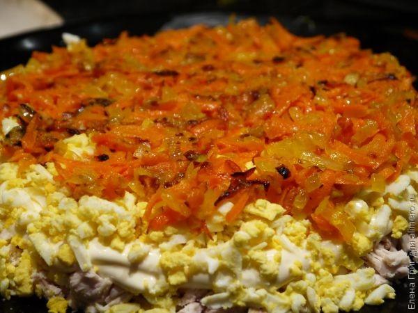 Салат с жареными грибами и курицей слоеный рецепт с