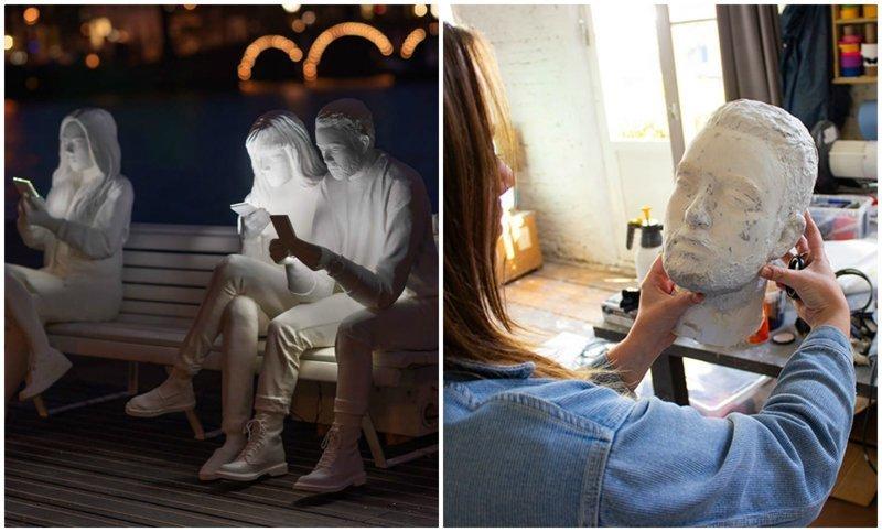 Художница создала скульптуру, показывающую зависимость людей от гаджетов гаджеты, зависимость, искусство, скульптура, со смыслом, творчество, фото, художники