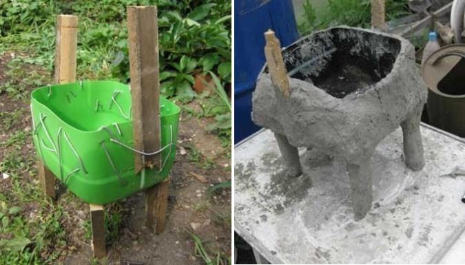 Сначала обрежьте пластиковую бутылку, чтобы получилась емкость для будущего высаживания цветов. Потом ее будем обмазывать цементом, поэтому закрепите проволоку вокруг емкости.