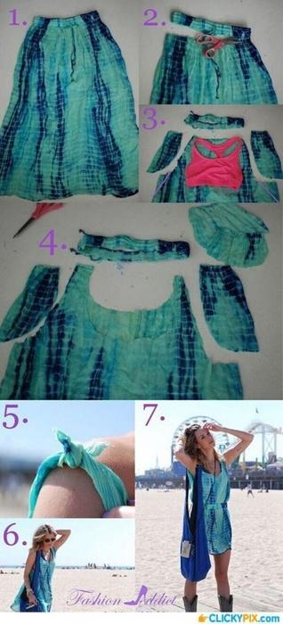 Летнее платье из юбки (Diy)