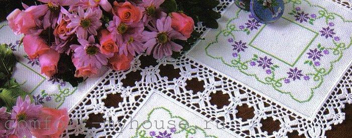 Красивая салфетка с вышивкой, обвязанная крючком (МК)