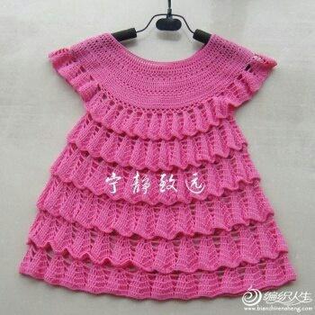 Вязаное детское платье в стиле ретро