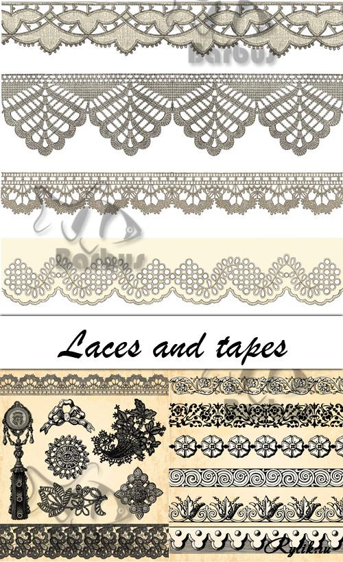 Кружева и ленты векторный клипарт. Laces and tapes - Vector