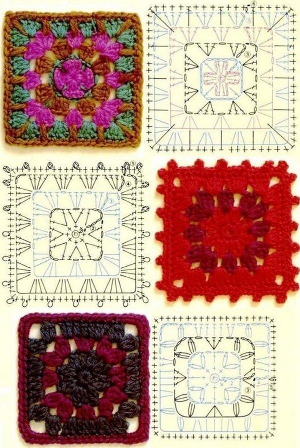 бабушкин квадрат крючком разноцветные схемы и полезные советы по