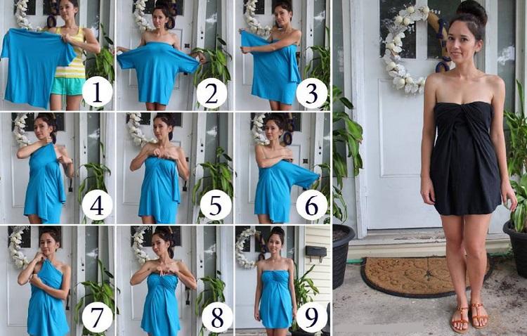 А можно без всяких навыков шитья создать себе из футболки большого размера оригинальное вечернее платье