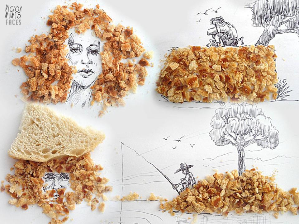 Виктор Нунес - Рисунки из крошек