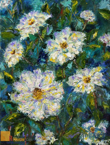 Цветочная масляная картина мастихином: Летние цветы.