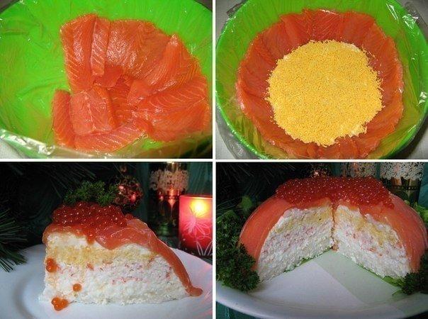 Праздничный рыбный торт с уд…