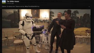 Барак и Мишель Обама станцевали с героями из «Звездных войн»