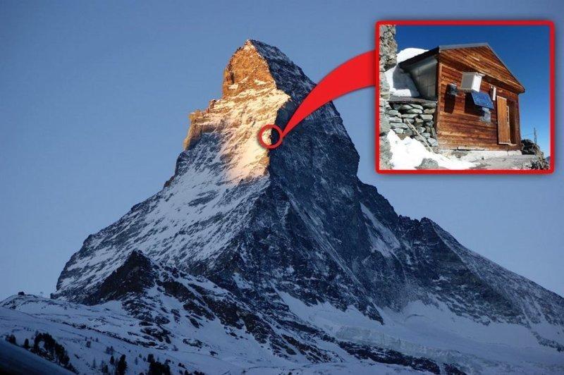 Солвей Хат — высокогорная хижина, расположенная на северо-восточном гребне горы Маттерхорна (Matterhorn) на высоте 4003 метра над уровнем моря дом, интересное, красиво, обрыв, строения