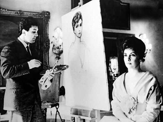 Во время работы над портретом Джины Лоллобриджиды, 1961 год