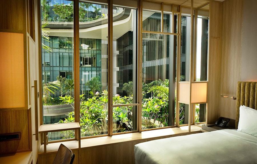 Parkroyal21 Уникальный сад на фасаде отеля в Сингапуре