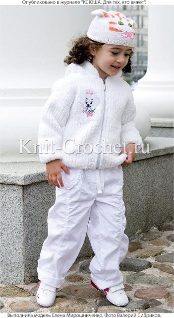 Шапочка и куртка с капюшоном для ребёнка спицами