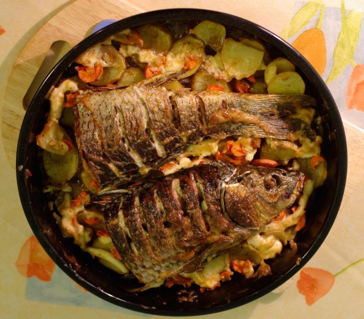Рыба в духовке с картошкой пошаговый рецепт