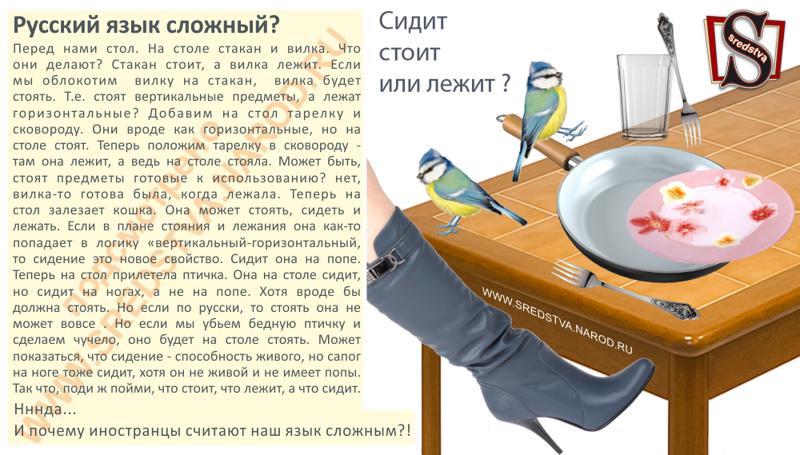 Сидит, стоит или лежит? Почему иностранцы считают Русский язык сложным(1 фото)