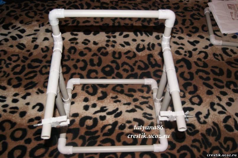 Станок для вышивания из ПВХ-труб Очумелые ручки