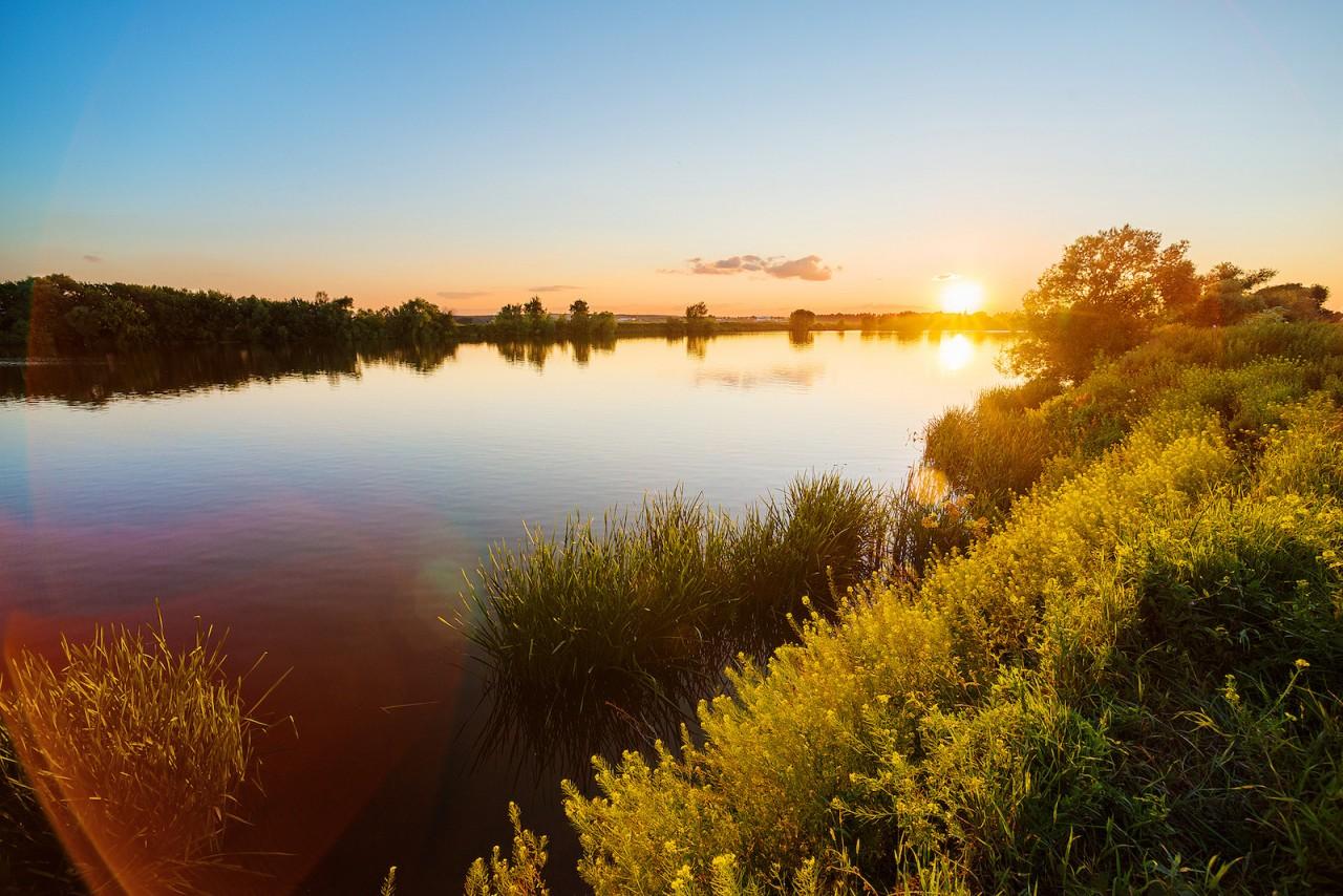 Река на закате. красота, природа, россия